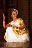 Indian girl dancing Mohinyattam dance Royalty Free Stock Images