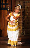 Indian girl dancing Mohinyattam dance Stock Image