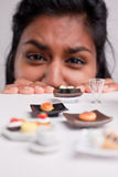 Indian girl on a diet with micro foods Stock Photo