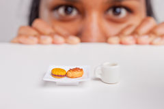Indian girl on a diet Stock Images