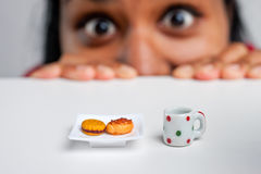 Indian girl on a diet. Indian girl on a severe diet Stock Image