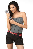 Indian girl with dumb bells Stock Photos