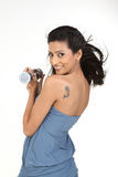 Indian girl with dumb bells Stock Photo
