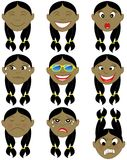 Indian Girl Emoticon Emoji Stickers Royalty Free Stock Images