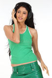 Indian   girl enjoying music Royalty Free Stock Photo