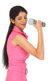 Indian  girl exercising with dumbbell Royalty Free Stock Image