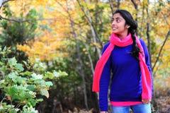 Indian Girl in Fall Season Stock Image