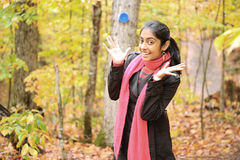 Indian Girl in Fall Season Stock Photo