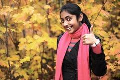 Indian Girl in Fall Season Stock Photos