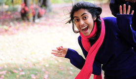 Indian Girl in Fall Season Royalty Free Stock Photo