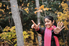Indian Girl in Fall Season Royalty Free Stock Photos