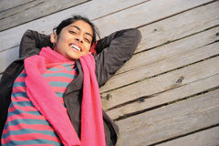 Indian Girl in Fall Season Stock Images