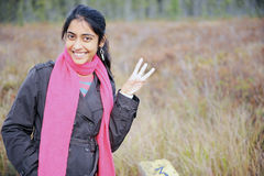 Indian Girl in Fall Season Stock Photos
