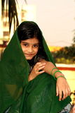 Indian girl in green sari Royalty Free Stock Photo