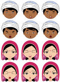 Indian girl in a headdress and boy in turban emotions: joy, surp Royalty Free Stock Photo