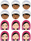 Indian girl in a headdress and boy in turban emotions: joy, surp Royalty Free Stock Photography