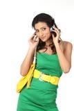 Indian girl with headphone Stock Photos