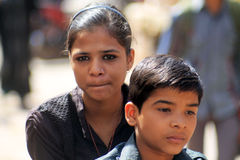 Indian girl with her brother. In Jodhpur Royalty Free Stock Photos