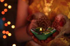Indian Girl Holding Traditional Oil Lamp Stock Image