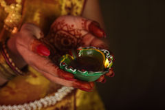 Indian Girl Holding Traditional Oil Lamp Royalty Free Stock Image