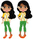 Indian Girl. Illustration of an indian tween girl. Sweet face. Fun outfit. Plaid and stars outfit Royalty Free Stock Photography