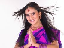 Indian Girl In Welcome Posture Stock Image