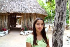 Indian girl in jungle palapa hut house rainforest Stock Photos