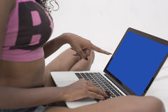 Indian girl with laptop Royalty Free Stock Photo
