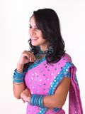 Indian girl laughing with heavy jewelery Royalty Free Stock Photography