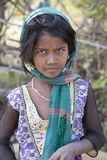 Indian girl from Madhya Pradesh. Bandhavgarh, December 30, 2014:Girl from rural village. Girls enrolled in school in rural areas is particularly low Royalty Free Stock Photos