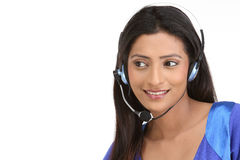 Indian girl with microphone Royalty Free Stock Photo