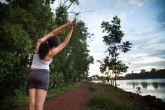 Indian Girl on morning exercise Stock Photo