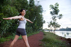 Indian Girl on morning exercise Stock Image