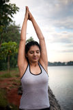 Indian Girl on morning exercise Stock Photos