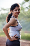 Indian Girl on morning exercise Royalty Free Stock Photo