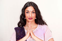 Indian girl namaste greeting Royalty Free Stock Photos