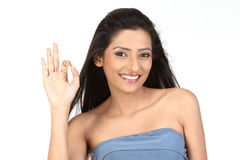 indian girl in okay action Royalty Free Stock Image