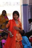 Indian girl with an orande veil Stock Image