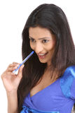 Indian girl with pen Stock Photography