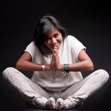 Indian girl saluting with a namaste Royalty Free Stock Images