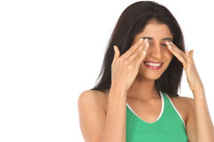 Indian  girl shutting her eyes Stock Photos