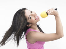 Indian girl singing Stock Photos