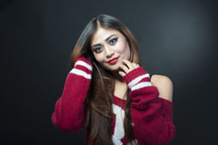 Indian girl. Smile prety. Photosoot in studio Royalty Free Stock Photo