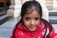 Indian girl in Sri Krishna-Balaram Temple Royalty Free Stock Photography