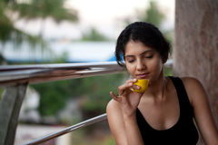 Indian girl with tea Stock Image