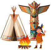 Indian girl and tepee by the campfire Stock Photo