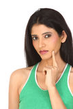 Indian girl with thinking expression Stock Photos