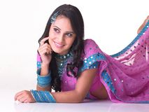 Indian girl in a thinking expression Stock Photos