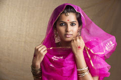Indian girl in traditional Indian sari Stock Photo