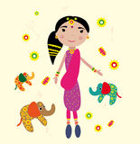 Indian girl. Vector graphic card with nice cute indian girl Royalty Free Stock Photo